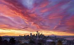 Seattle Fired Up (Stephen Kacirek) Tags: seattle clouds sunrise cityscape dramatic mountrainier spaceneedle kerrypark downtownseattle seattleskyline columbiatower kerryparkseattle kerryparksunrise colorfulseattlesunrise
