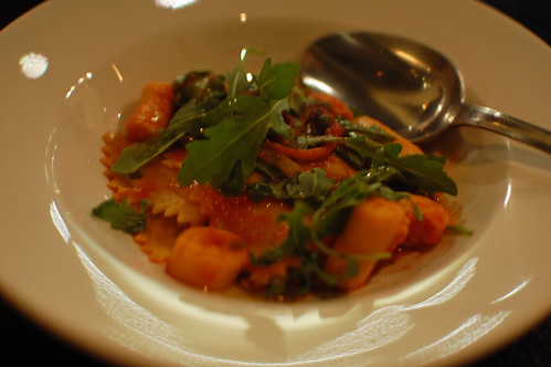 Maltagliati with Octopus, Spicy Tomato, Preserved Lemon and Arugula