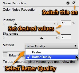 Turning on Better Quality noise reduction in Nikon Capture NX 2