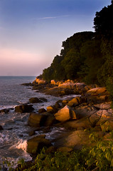 Penangs Golden Light (Explore p27) (edwinemmerick) Tags: ocean trees sea 20d water canon eos coast rocks shoreline jungle malaysia coastline penang edwin goldenhour emmerick edwinemmerick