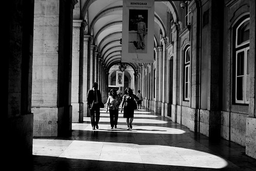 walking under the arcades