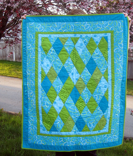 turquoise and lime baby quilt