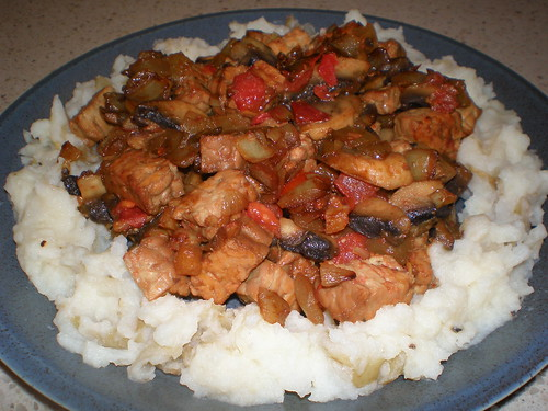 Tempeh and Mushroom Stew on a Mashed Potato Base