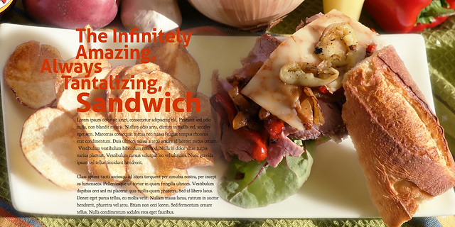 sandwhich-assign (Prime Rib Roast Beef sandwich with roasted peppers & onions, chipotle cheddar on a toasted baguette and homemade red potato chips fried in extra virgin olive oil))