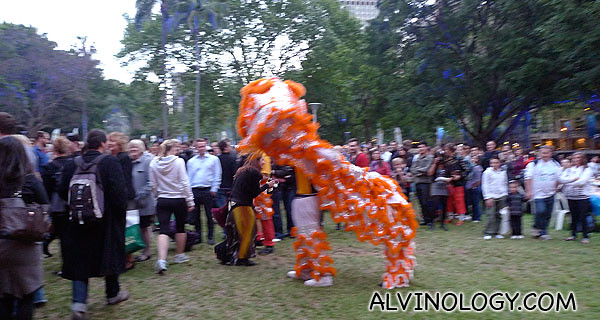 The lion dance was a crowd pleaser