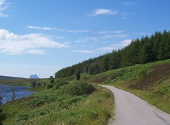 Remote and Lonely, A837 (allanmaciver) Tags: road blue trees summer sky green weather clouds track single remote lonely passing suilven strath a837 oykel allanmaciver
