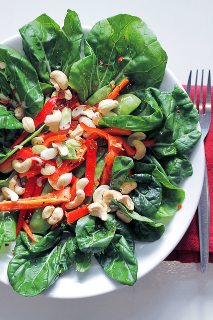 Baby Pak Choi, Mange Touts and Red Pepper