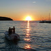 Speedboat against a beautiful Mediterranean sunset