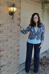 Outfit - Twenty8twelve 1970s inspired jeans, turquoise American Apparel V-neck, Anthropologie floral blazer