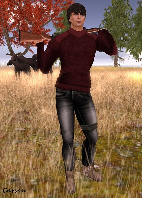 [Sleepy Eddy] Crew Neck Sweater (maroon), Delirium Style - Jake LC, Willow - Creek Moccasins, dfo! Gone Huntin' Gun with Pose