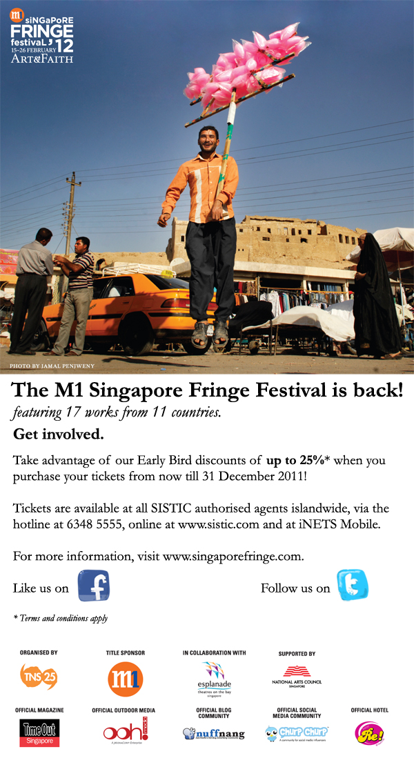 Enjoy Early Bird Discounts for Tickets to the M1 Singapore Fringe Festival 2012: Art & Faith!