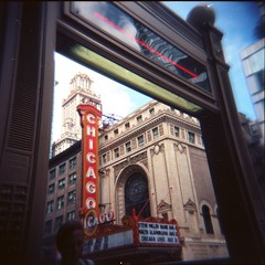 Framed Through the Train (JBolf) Tags: chicago 6x6 film train square holga theater downtown kodak 400 l epson format portra 120n v500