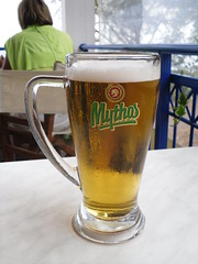 Drowning our sorrows (pefkosmad) Tags: beer weather lunch cafe bad greece greekislands pefkos griechenland rhodes mythos dodecanese rodhos