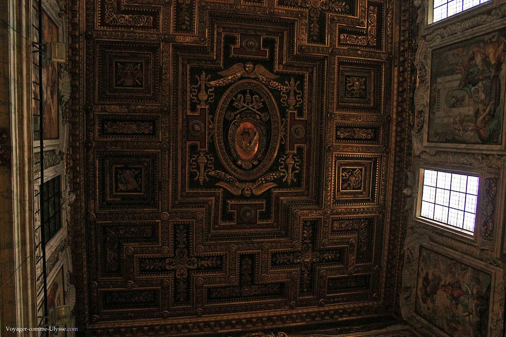 Le plafond à caissons,  offert par Marcantonio Colonna, amiral victorieux de la bataille de Lépante