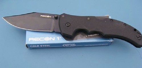 "Cold Steel Recon 1 Clip Point 4"" Plain Blade, G10 Handles"