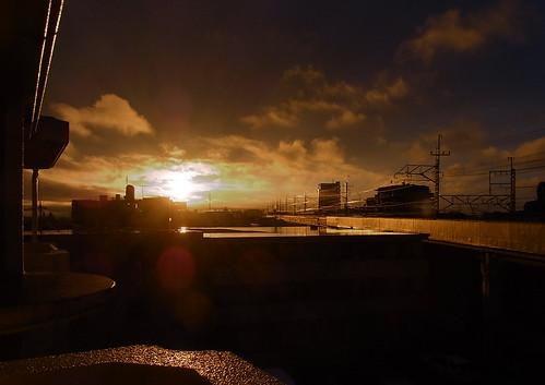 沿線の夕日