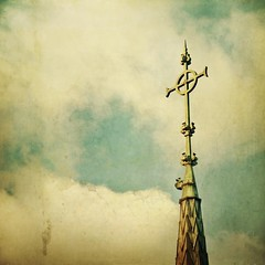 Stauros (jssteak) Tags: clouds canon vintage square cross steeple aged textured fairmountcemetery texturesquared littleivychapel t1i