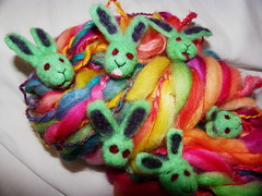 Happy Zombie Bunny Art Yarn close up (ixchelbunny) Tags: rabbit bunny bunnies art knitting felting zombie felt yarn needle angora zombies ixchel ixchelbunny