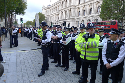 March against deaths in custody - police opposite Downing Street