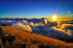 Sunset in Ht. Hehuan @ (Vincent_Ting) Tags: sunset sky mountain night clouds sunrise star glow taiwan trails galaxy flare moonlight formosa   gettyimages crepuscularrays startrails milkyway  seaofclouds            mountainhehuan             vincentting   hthehuan