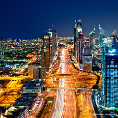 The Veins Of Dubai #8 (DanielKHC) Tags: road city blue night digital 1 nikon highway long exposure dubai cityscape metro uae explore zayed hour sheikh dri hdr blending d300 tamron1750mmf28 danielcheong danielkhc