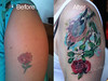 jay and flowers cover up tattoo by Mirek vel Stotker