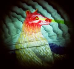 Spirit Bear (liquidnight) Tags: seattle bear streetart film animals analog mediumformat painting skull xpro crossprocessed mural kodak spirit streetphotography diana dreamy dianaf vignetting ektachrome e100vs parskid ephemeralart kristahuot