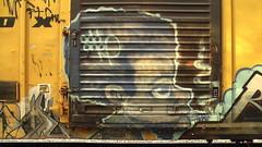 ODD ONE (BLACK VOMIT) Tags: door boy man art car train one graffiti box character smoke cartoon rail dude smoking odd boxcar blunt freight