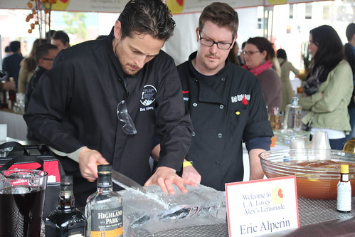 Mixologist Eric Alperin saws ice by Caroline on Crack