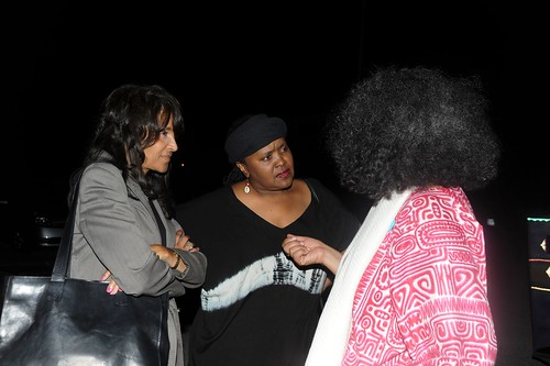 Ensemble Theatre ED Janette Cosley visiting with guests