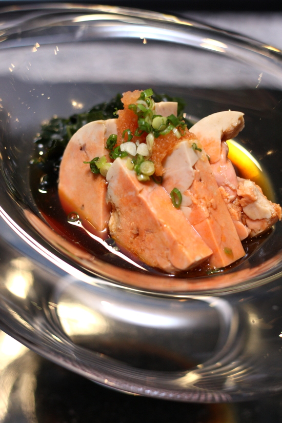 steamed monkfish liver