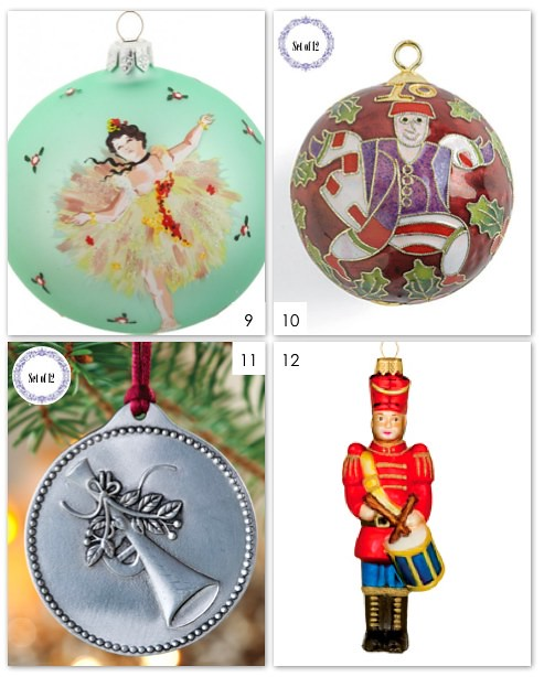 12 Days Of Christmas Ornaments 9-12