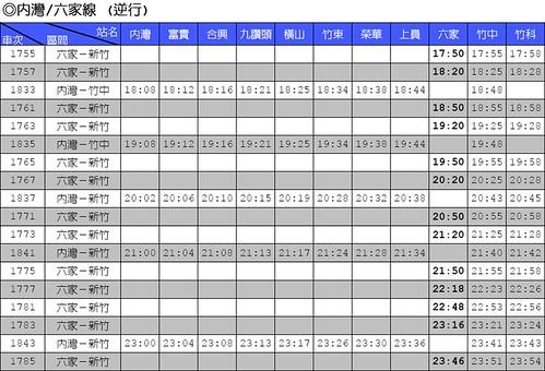 台鐵六家支線 六家往新竹方向時刻表