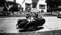 Beverly (Barkley) Craig in her father's Police department motocycle sidecar.