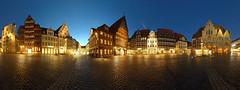 Historischer Marktplatz Hildesheim - Version 2 (schmilar77) Tags: architecture nightshot cityhall architektur marketplace rathaus marktplatz 360° nachtaufnahme hildesheim fachwerk blauestunde hugin stativ rolandbrunnen