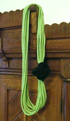 green string scarf from upcycled t-shirts
