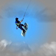 blowing in the wind (henk hessel photography) Tags: sky clouds island action explore northsea texel kitesurfer