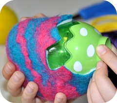 Removing our mold (Rosina Huber) Tags: wool water felted easter fun toy soap colorful natural felting handmade craft wrapped chick gift eggs opening inside easy hiding cracked roving suds opens chicky easteregg happyeaster woolroving wetfelting kidscraft