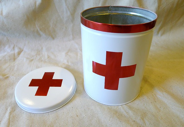 First Aid Tin Open