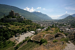 Sion (Katka S.) Tags: city house mountains alps castle home nature architecture de landscape switzerland vineyard swiss medieval valley chateau chteau wallis sion valais tourbillon valre valere hitorical