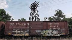 EYE & AEST (BLACK VOMIT) Tags: eye car train graffiti ol virginia box south dirty richmond mc dos eyeball va boxcar d30 mayhem freight wh aest eball aest2