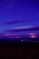 Lightning Stars Cars (voetshy) Tags: storm film night clouds oregon 35mm long exposure fuji pentax peak slide velvia lightning drake lakeview eastern ltd fa lx 100f 31mm