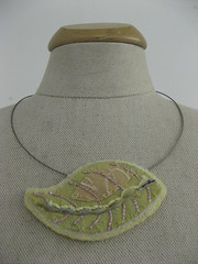 Embroidered Leaf (Bijou Zoo) Tags: colour necklace shiny handmade embroidery sewing jewellery textile fabric stitching accessories colourful embroidered couching