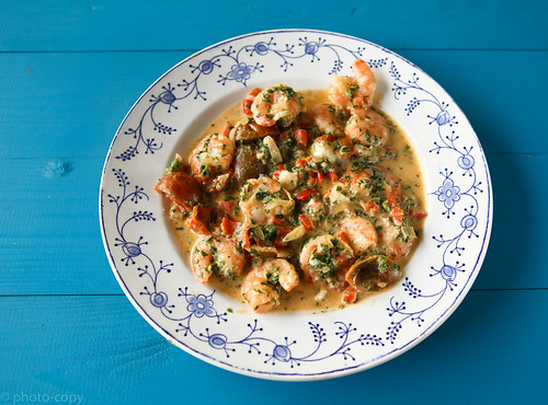 messy shrimps with fresh herbs and feta