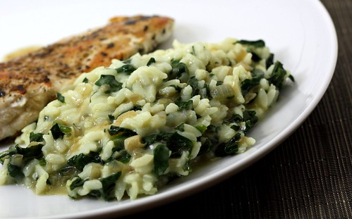 Creamy, Cheesy, Garlicky Rice with Spinach