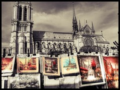 Art work near Notre Dame cathedral (Rshrsho) Tags: sky white black paris france color tower art church painting dam eiffeltower eiffel notredame notre fr hdr catherderal