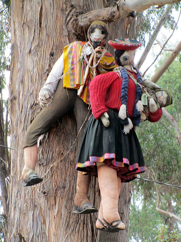 Muñecas hanging in a tree at Q'enqo in Cuzco, Peru