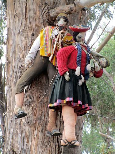 Muñecas hanging in a tree at Q'enqo in Cuzco, Peru