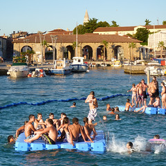 Mediterranean swimming in the Old Town Koper (Bn) Tags: blue trees sea summer two sky panorama sun holiday hot tourism beach girl weather silhouette marina swimming relax fun one harbor three pier town seaside jumping topf50 warm mediterranean wind salt palm slovenia coastal blond capodistria evergreens baths shooting dare relaxation pleasure adriatic rafts continues istria koper istri capris friendliness leisurely aromas sloveni 50faves jumpiing letsjump kopar gafers aegida climateump bayofkoper caprista