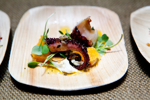 Boulud Sud's Octopus a la Plancha, Marcona Almonds, Arugula, and Sherry Vinaigrette